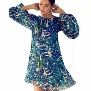 Anthropologie Chloe Oliver Blue Leaf Print Dress